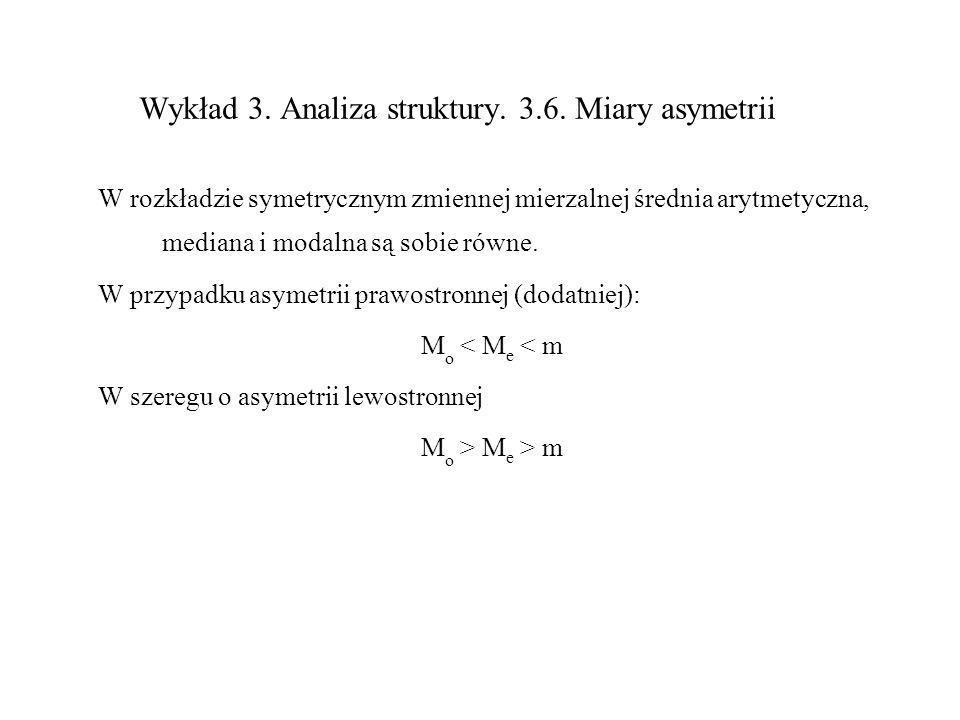 Wykład 3. Analiza struktury. 3.6. Miary asymetrii W rozkładzie symetrycznym zmiennej mierzalnej średnia arytmetyczna, mediana i modalna są sobie równe