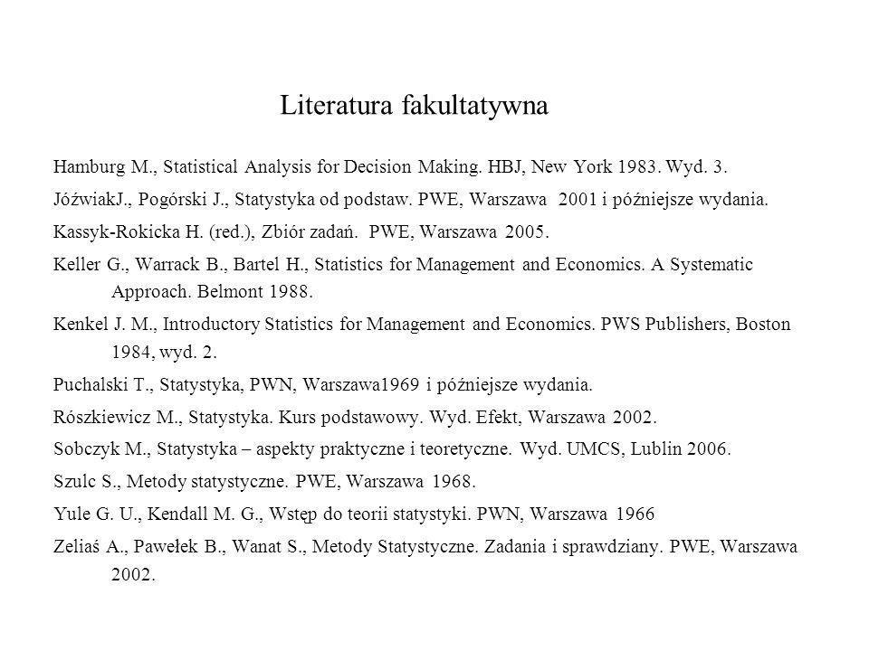 Literatura fakultatywna Hamburg M., Statistical Analysis for Decision Making. HBJ, New York 1983. Wyd. 3. JóźwiakJ., Pogórski J., Statystyka od podsta