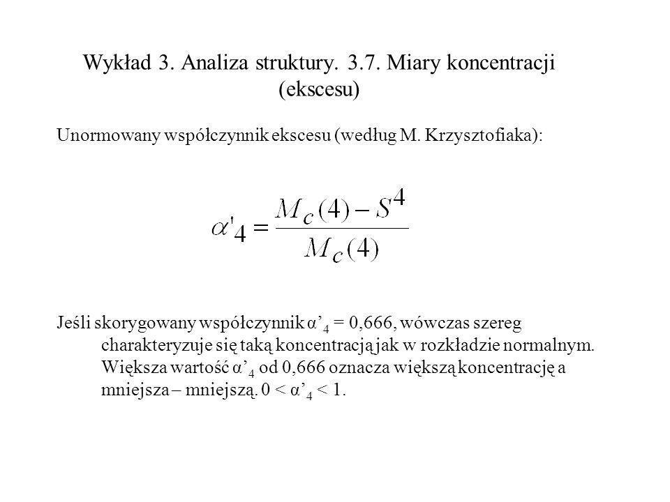 Wykład 3. Analiza struktury. 3.7. Miary koncentracji (ekscesu) Unormowany współczynnik ekscesu (według M. Krzysztofiaka): Jeśli skorygowany współczynn