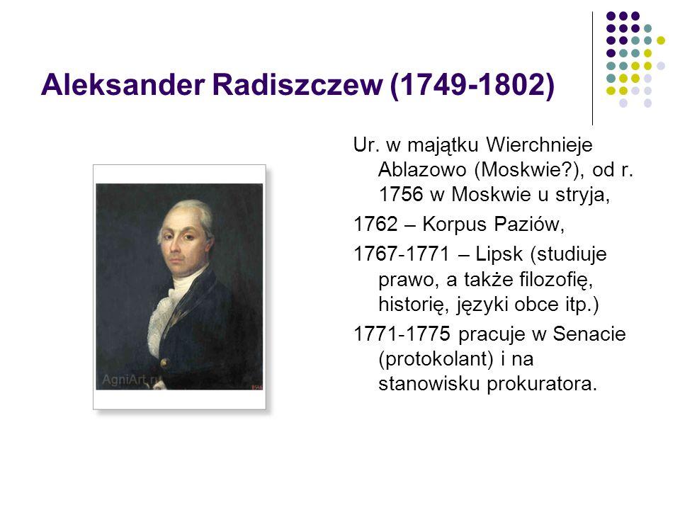 Aleksander Radiszczew (1749-1802) Ur. w majątku Wierchnieje Ablazowo (Moskwie?), od r. 1756 w Moskwie u stryja, 1762 – Korpus Paziów, 1767-1771 – Lips