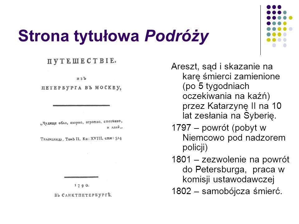 Strona tytułowa Podróży Areszt, sąd i skazanie na karę śmierci zamienione (po 5 tygodniach oczekiwania na kaźń) przez Katarzynę II na 10 lat zesłania