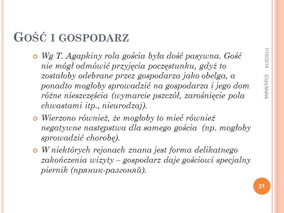 G OŚĆ I GOSPODARZ 1/16/2014 21 Eliza Małek Wg T. Agapkiny rola gościa była dość pasywna. Gość nie mógł odmówić przyjęcia poczęstunku, gdyż to zostałob