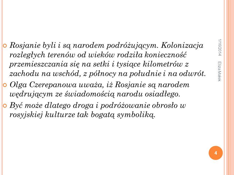 1/16/2014 Eliza Małek 4 Rosjanie byli i są narodem podróżującym. Kolonizacja rozległych terenów od wieków rodziła konieczność przemieszczania się na s
