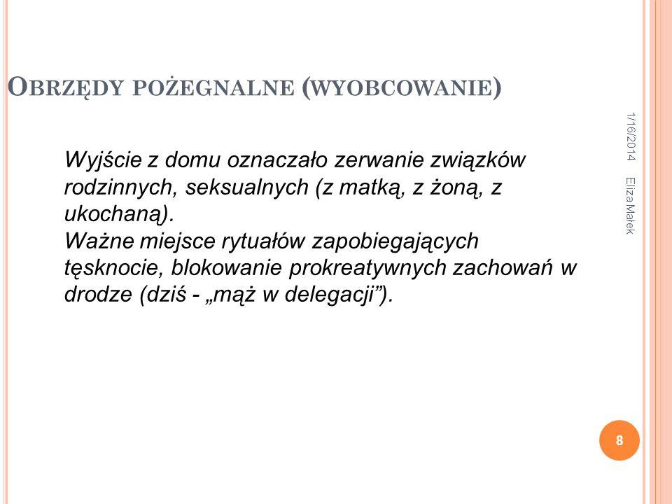 1/16/2014 Eliza Małek 8 O BRZĘDY POŻEGNALNE ( WYOBCOWANIE ) Wyjście z domu oznaczało zerwanie związków rodzinnych, seksualnych (z matką, z żoną, z uko