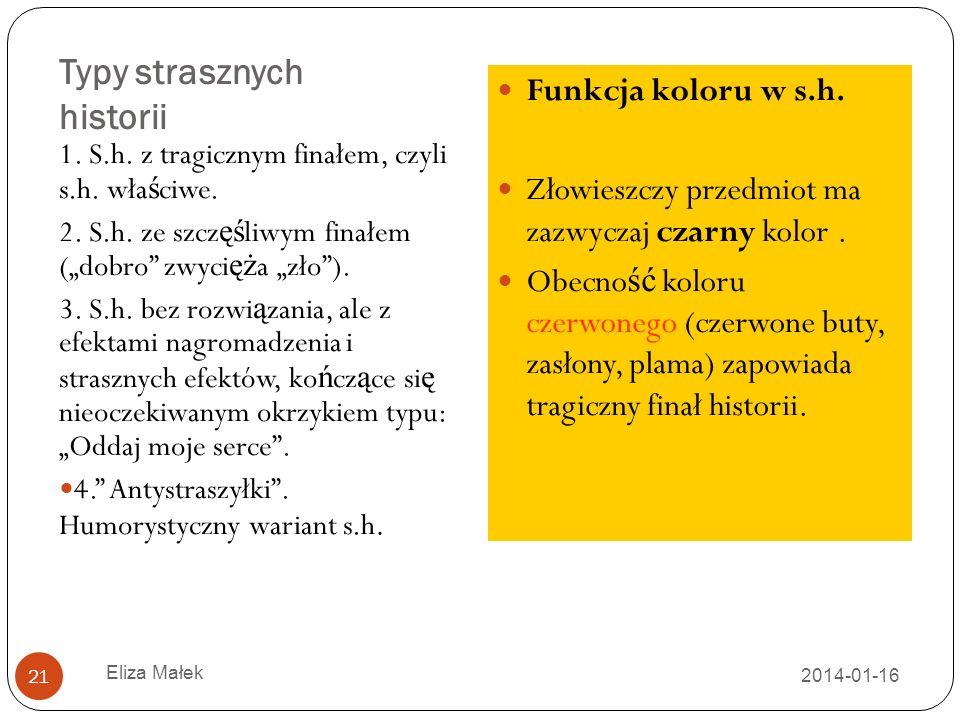 Typy strasznych historii 2014-01-16 Eliza Małek 21 1.