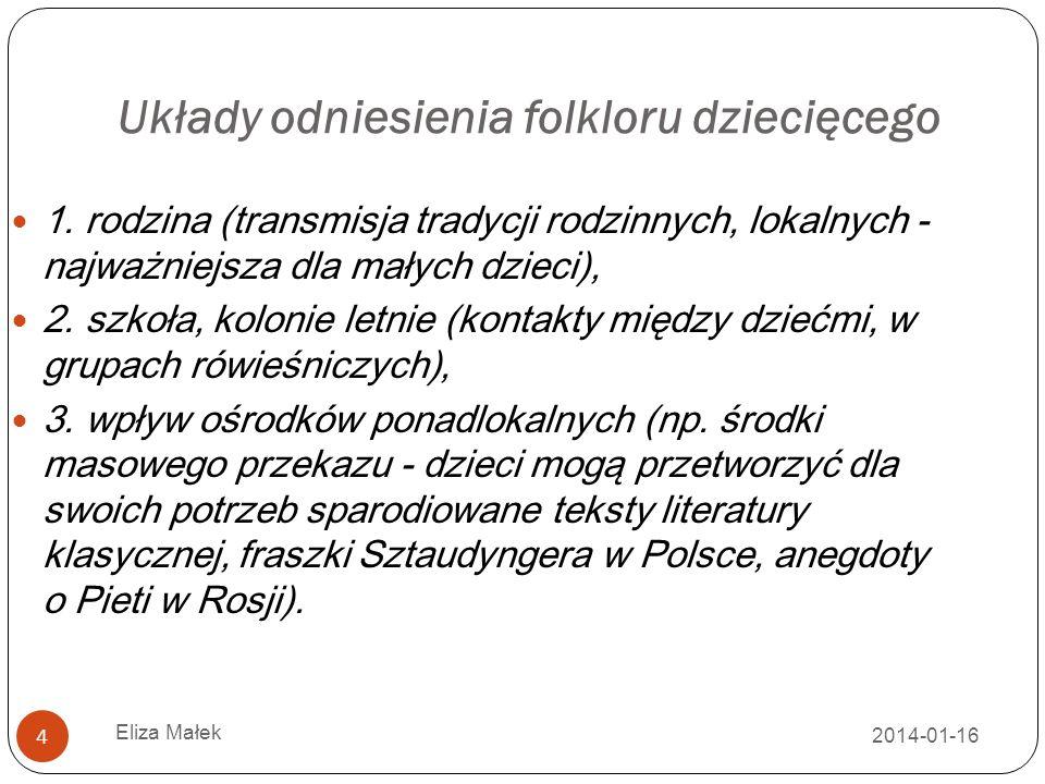 2014-01-16 Eliza Małek 5 Repertuar i gatunki folkloru dziecięcego a wiek i możliwości percepcyjne odbiorców Kołysanki (dla najmłodszych), wyliczanki, prowokanki, trajkotałki (wierszyki), gry, bajki (zwierz ę ce dla najmłodszych, fantastyczne dla starszych), zagadki, anegdoty, niebylice (adynata), straszne historie.