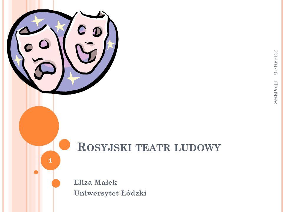 R OSYJSKI TEATR LUDOWY Eliza Małek Uniwersytet Łódzki Eliza Małek 1 2014-01-16