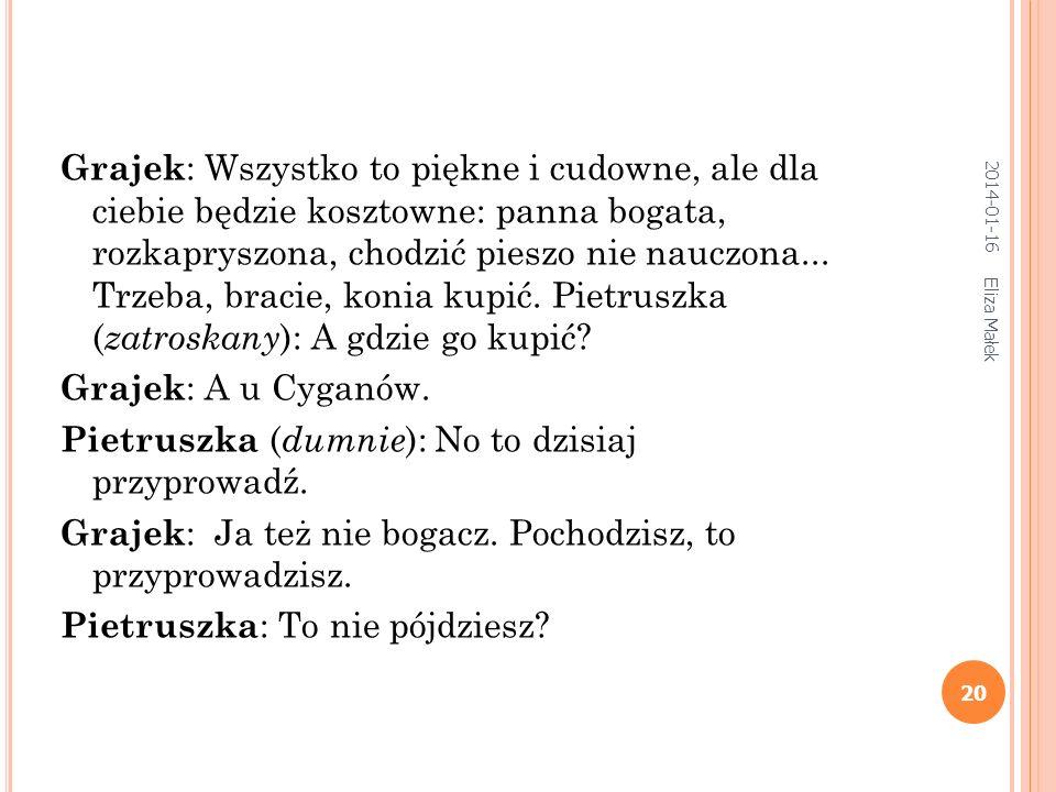 2014-01-16 Eliza Małek 19 Pietruszka : Pokazać tobie? Łatwo to zrobię. Zaraz z nią przyłażę i tobie pokażę (chowa się i przyprowadza lalkę ). Popatrz,