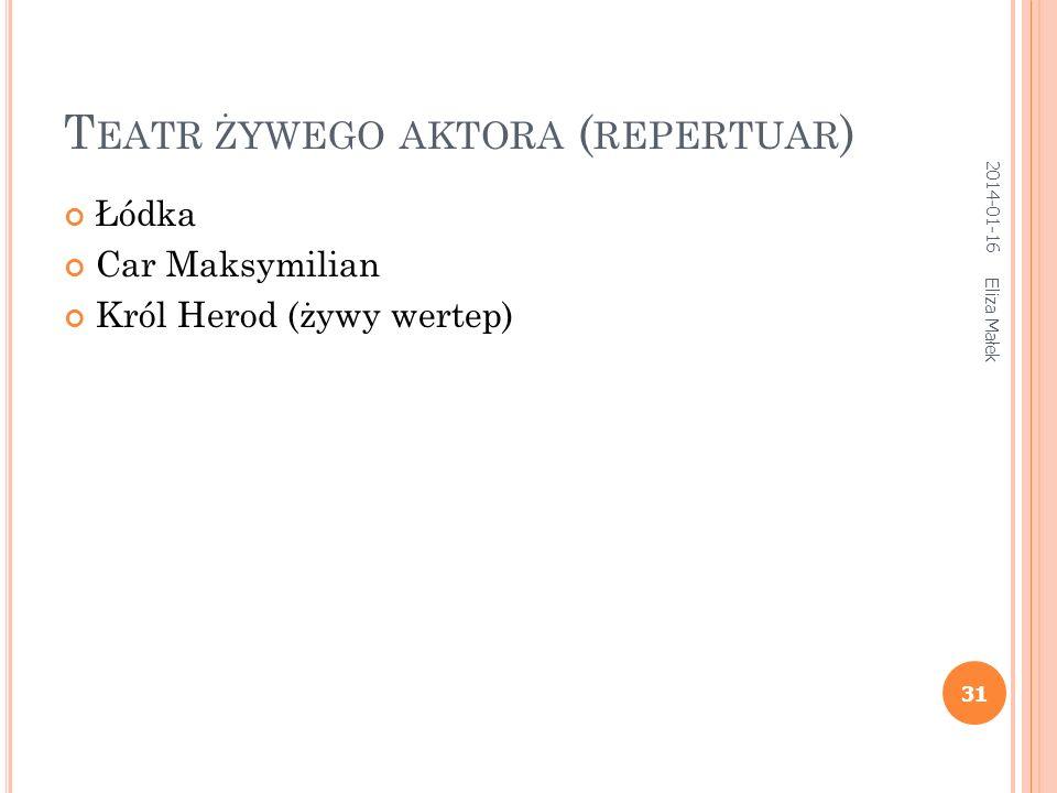 T EATR ŻYWEGO AKTORA ( REPERTUAR ) Łódka Car Maksymilian Król Herod (żywy wertep) 31 Eliza Małek 2014-01-16