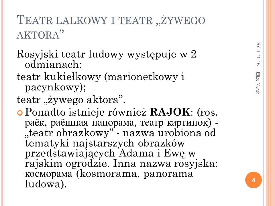 T EATR LALKOWY I TEATR ŻYWEGO AKTORA Rosyjski teatr ludowy występuje w 2 odmianach: teatr kukiełkowy (marionetkowy i pacynkowy); teatr żywego aktora.