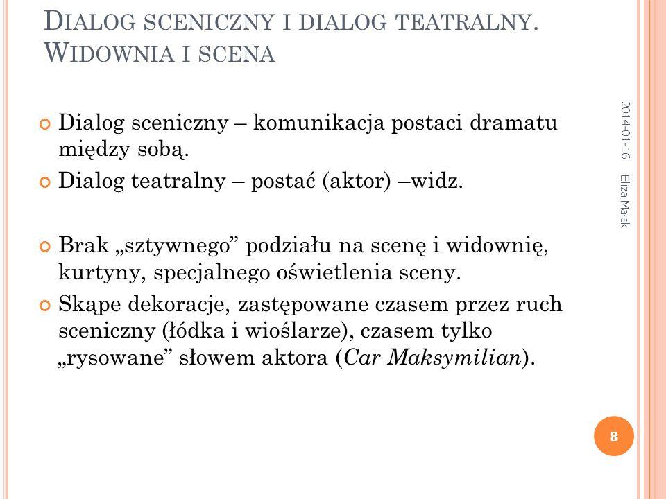 D IALOG SCENICZNY I DIALOG TEATRALNY.