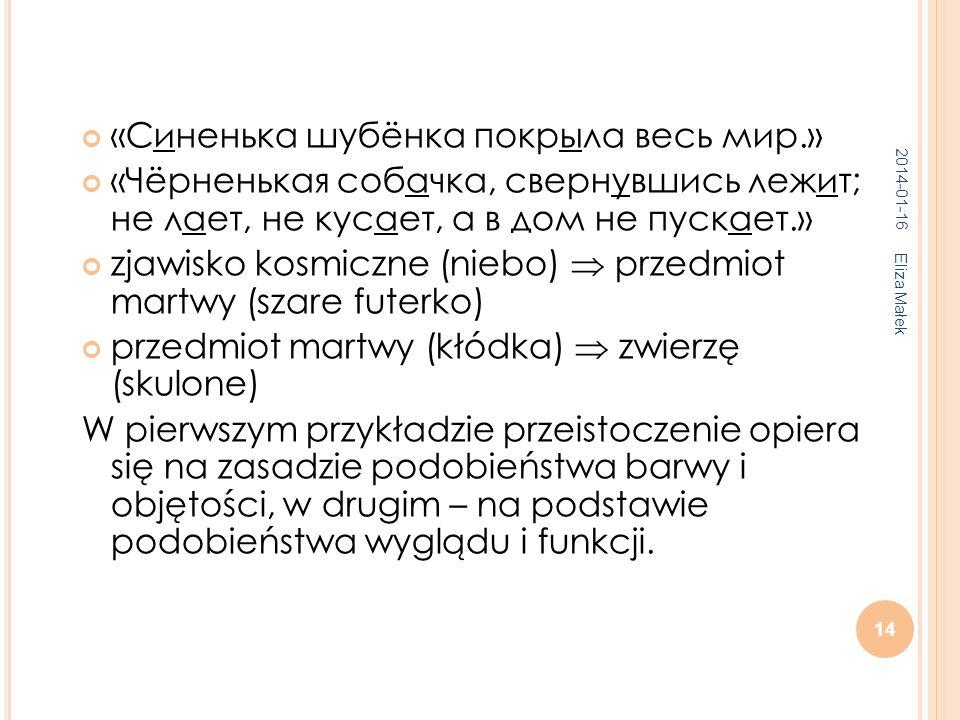 2014-01-16 Eliza Małek 14 «Синенька шубёнка покрыла весь мир.» «Чёрненькая собачка, свернувшись лежит; не лает, не кусает, а в дом не пускает.» zjawis