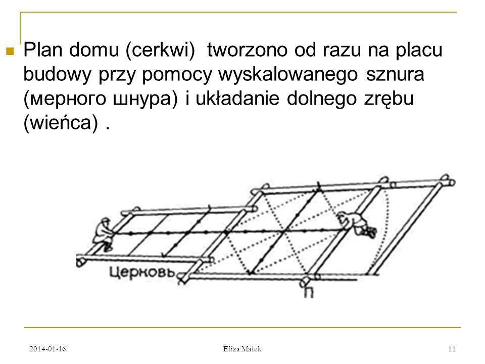 2014-01-16 Eliza Małek 11 Plan domu (cerkwi) tworzono od razu na placu budowy przy pomocy wyskalowanego sznura (мерного шнура) i układanie dolnego zrę