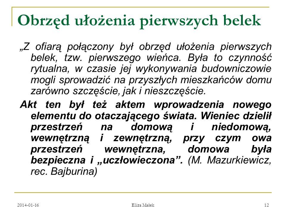 2014-01-16 Eliza Małek 12 Obrzęd ułożenia pierwszych belek Z ofiarą połączony był obrzęd ułożenia pierwszych belek, tzw. pierwszego wieńca. Była to cz