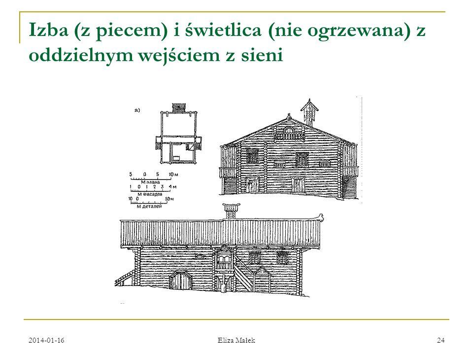 2014-01-16 Eliza Małek 24 Izba (z piecem) i świetlica (nie ogrzewana) z oddzielnym wejściem z sieni