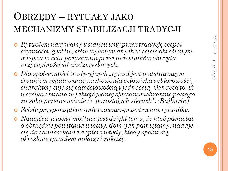 2014-01-16 Eliza Małek 16 O BRZĘDY KALENDARZOWE Rola kalendarza agrarnego, słonecznego.