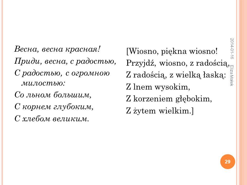 W IOŚNIANKI 2014-01-16 Eliza Małek 30 Wiosno krasna, Jakoś przyszła.