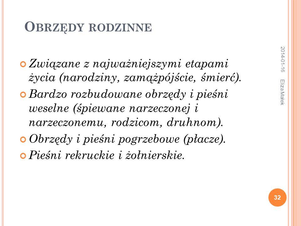 P RZĄŚLICA 2014-01-16 Eliza Małek 33 Przy przędzeniu lnu kobiety śpiewały pieśni – wesołe podczas karnawału, poważne (wiersze duchowne) w dni Wielkiego postu.