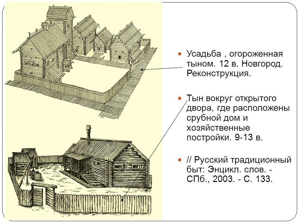 Усадьба, огороженная тыном. 12 в. Новгород. Реконструкция. Тын вокруг открытого двора, где расположены срубной дом и хозяйственные постройки. 9-13 в.