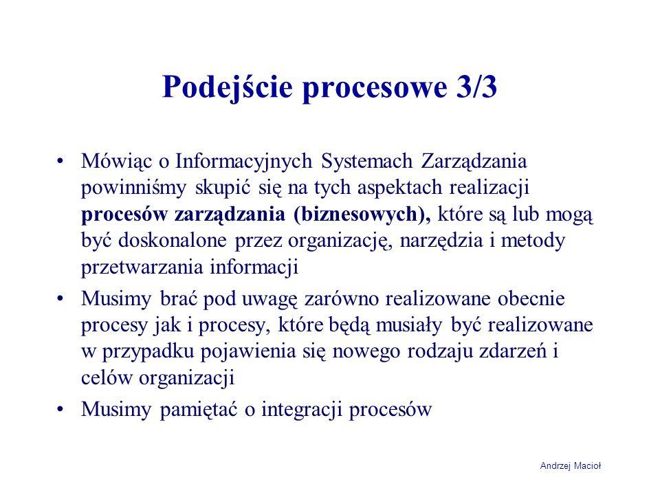 Andrzej Macioł Podejście procesowe 3/3 Mówiąc o Informacyjnych Systemach Zarządzania powinniśmy skupić się na tych aspektach realizacji procesów zarzą