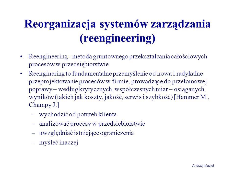 Andrzej Macioł Reorganizacja systemów zarządzania (reengineering) Reengineering - metoda gruntownego przekształcania całościowych procesów w przedsięb