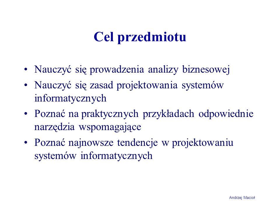 Andrzej Macioł Cel przedmiotu Nauczyć się prowadzenia analizy biznesowej Nauczyć się zasad projektowania systemów informatycznych Poznać na praktyczny