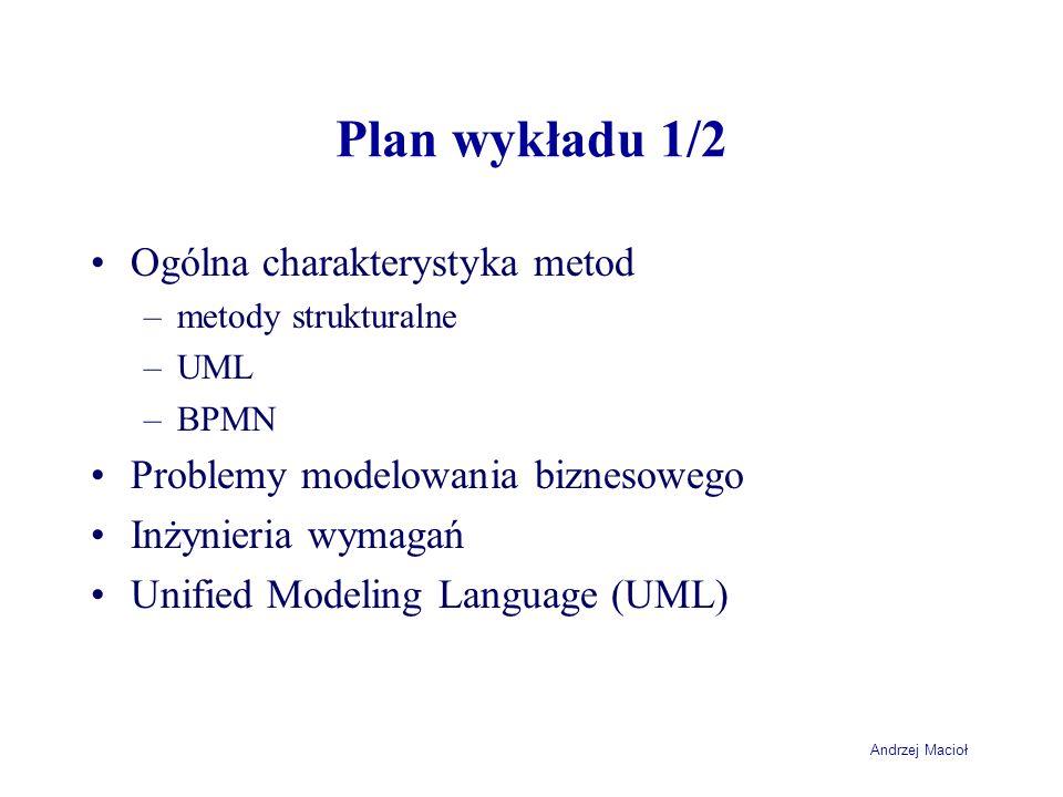 Andrzej Macioł Plan wykładu 1/2 Ogólna charakterystyka metod –metody strukturalne –UML –BPMN Problemy modelowania biznesowego Inżynieria wymagań Unifi