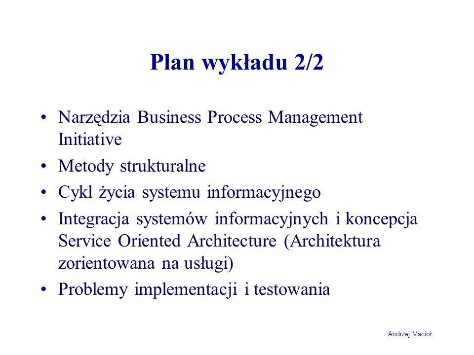 Andrzej Macioł Plan wykładu 2/2 Narzędzia Business Process Management Initiative Metody strukturalne Cykl życia systemu informacyjnego Integracja syst