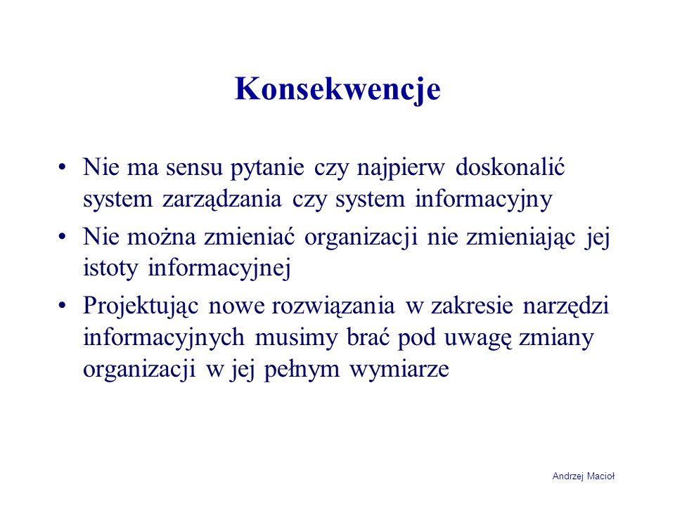 Andrzej Macioł Konsekwencje Nie ma sensu pytanie czy najpierw doskonalić system zarządzania czy system informacyjny Nie można zmieniać organizacji nie