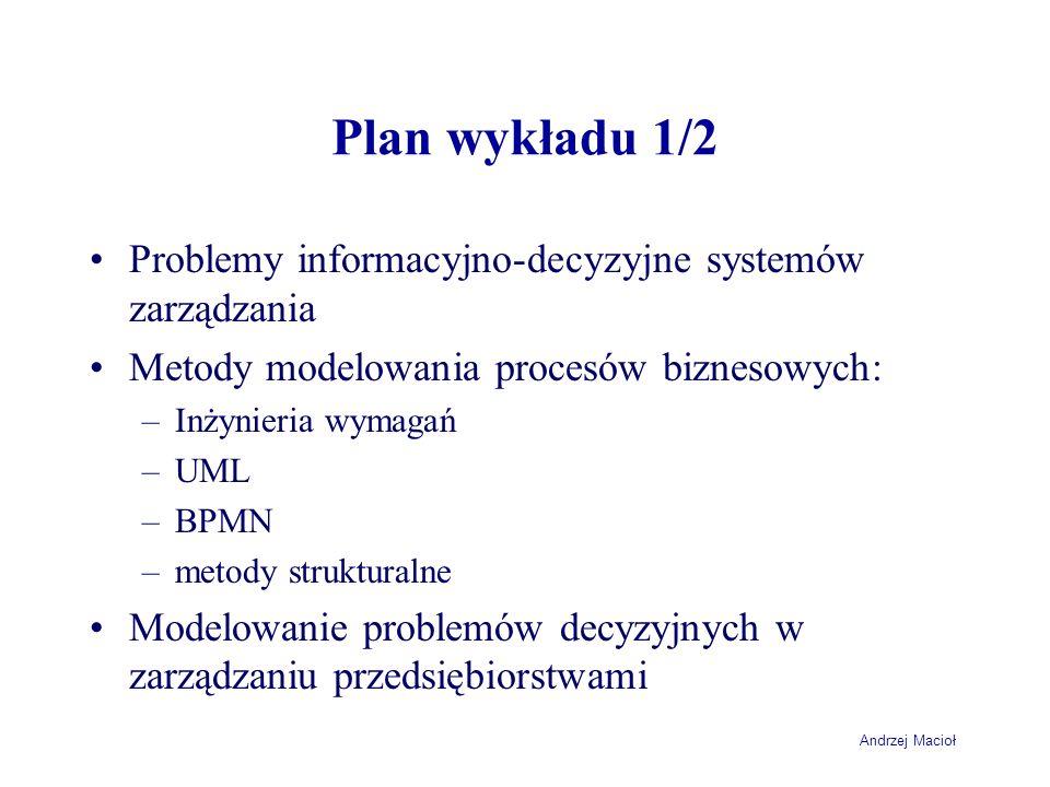 Andrzej Macioł Plan wykładu 1/2 Problemy informacyjno-decyzyjne systemów zarządzania Metody modelowania procesów biznesowych: –Inżynieria wymagań –UML
