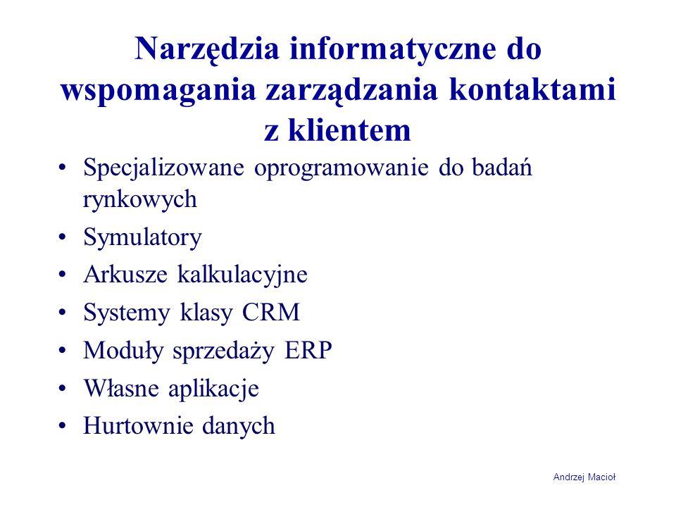 Narzędzia informatyczne do wspomagania zarządzania kontaktami z klientem Specjalizowane oprogramowanie do badań rynkowych Symulatory Arkusze kalkulacy