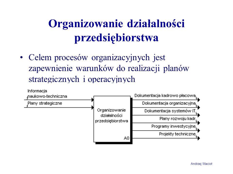 Andrzej Macioł Organizowanie działalności przedsiębiorstwa Celem procesów organizacyjnych jest zapewnienie warunków do realizacji planów strategicznyc