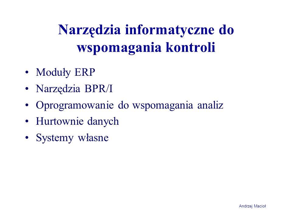 Narzędzia informatyczne do wspomagania kontroli Moduły ERP Narzędzia BPR/I Oprogramowanie do wspomagania analiz Hurtownie danych Systemy własne