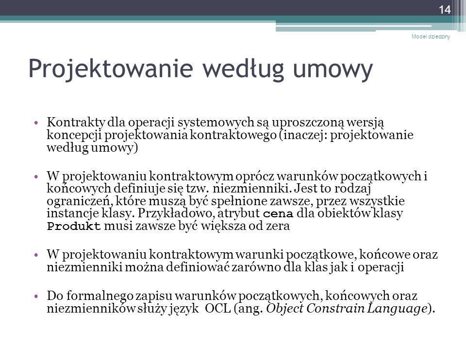 Projektowanie według umowy Kontrakty dla operacji systemowych są uproszczoną wersją koncepcji projektowania kontraktowego (inaczej: projektowanie wedł