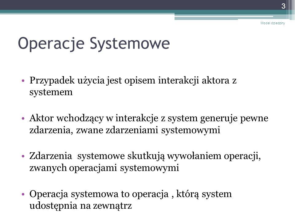 Diagram sekwencji systemowych Model dziedziny 4 :System OperacjaSystemowa1(a, b, c) Odpowiedź systemu OperacjaSystemowa2() Diagram Sekwencji Systemowych (ang.