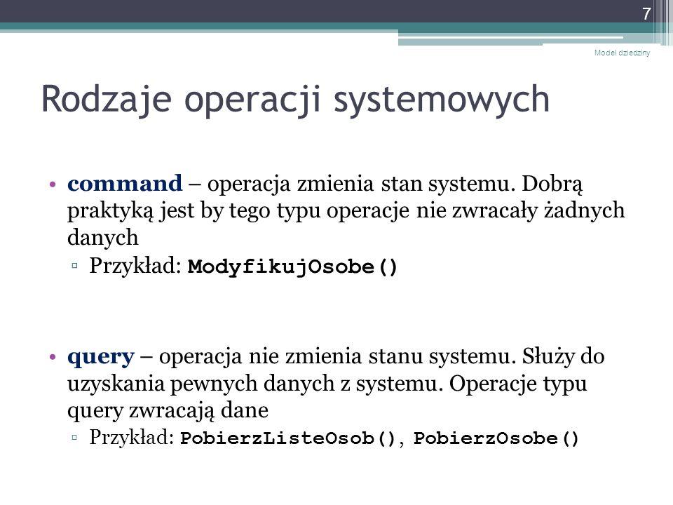 Kontrakty dla operacji wg Larmana Kontrakt dla operacji jest opisem stanu systemu przed i po wykonaniu operacji systemowej Kontrakty tworzy się dla bardziej złożonych operacji systemowych Kontrakty tworzy się w oparciu o model dziedziny Model dziedziny 8