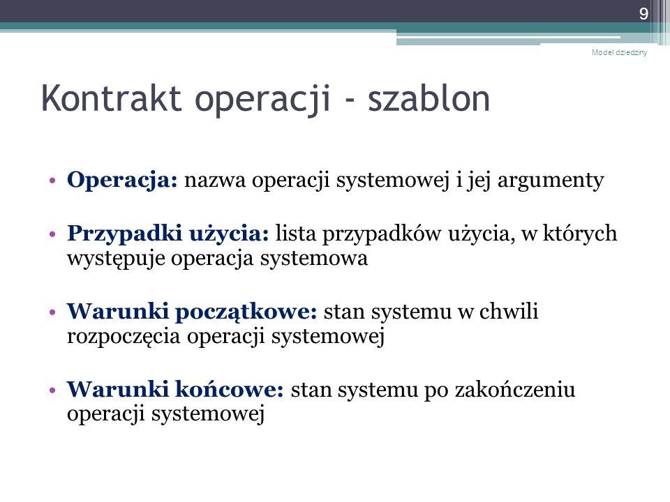 Kontrakt operacji - szablon Operacja: nazwa operacji systemowej i jej argumenty Przypadki użycia: lista przypadków użycia, w których występuje operacj