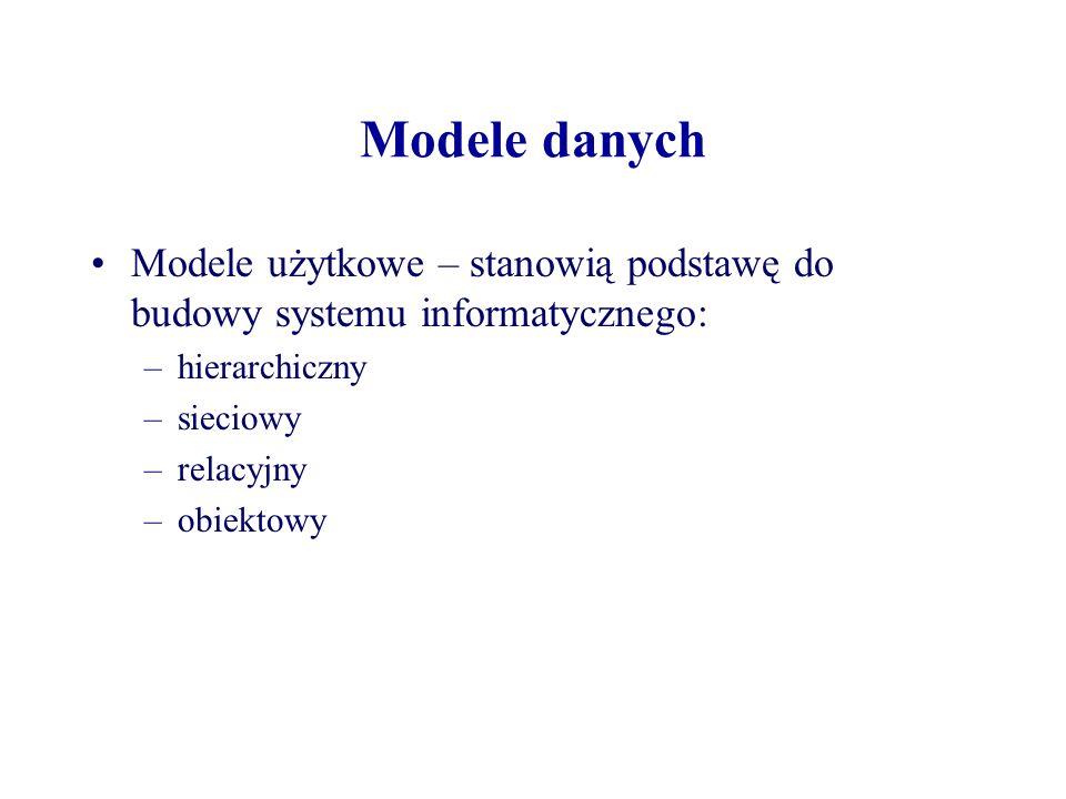 Modele danych Modele użytkowe – stanowią podstawę do budowy systemu informatycznego: –hierarchiczny –sieciowy –relacyjny –obiektowy
