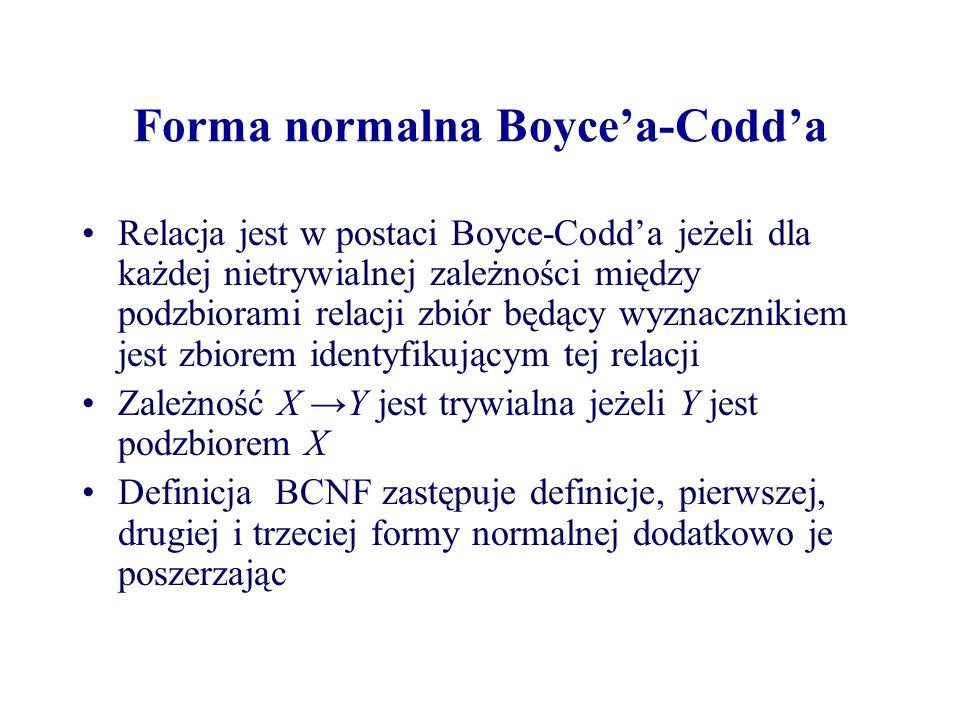 Forma normalna Boycea-Codda Relacja jest w postaci Boyce-Codda jeżeli dla każdej nietrywialnej zależności między podzbiorami relacji zbiór będący wyzn