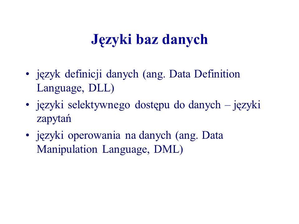Języki baz danych język definicji danych (ang. Data Definition Language, DLL) języki selektywnego dostępu do danych – języki zapytań języki operowania