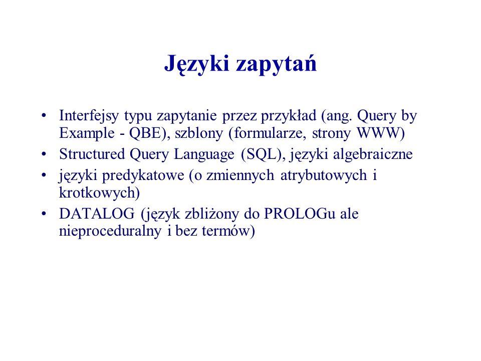 Języki zapytań Interfejsy typu zapytanie przez przykład (ang. Query by Example - QBE), szblony (formularze, strony WWW) Structured Query Language (SQL