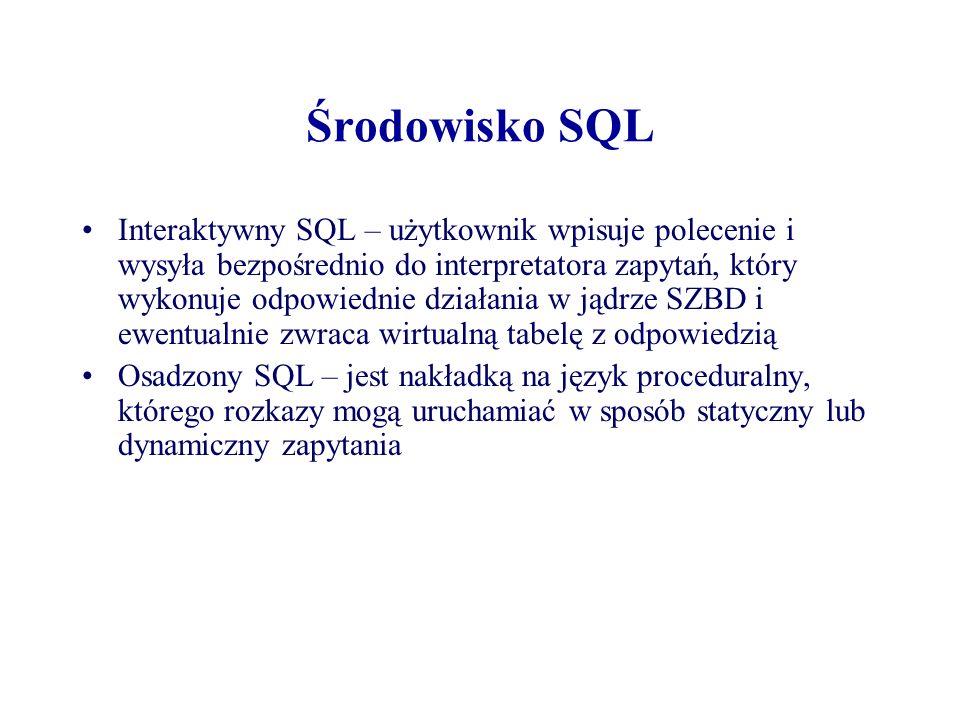 Środowisko SQL Interaktywny SQL – użytkownik wpisuje polecenie i wysyła bezpośrednio do interpretatora zapytań, który wykonuje odpowiednie działania w
