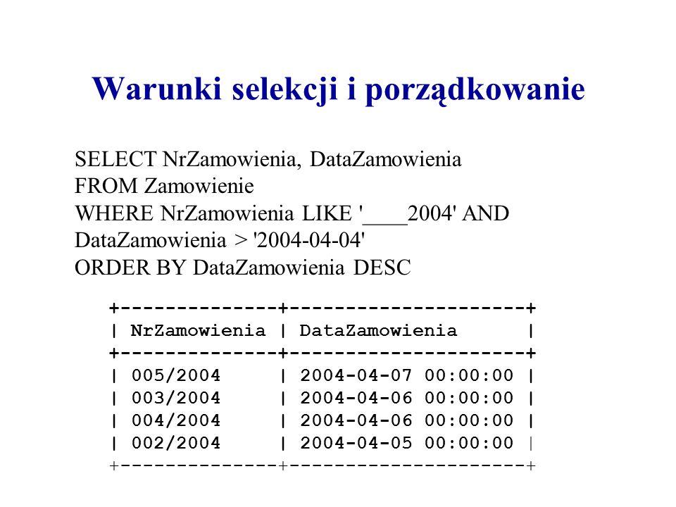 Warunki selekcji i porządkowanie SELECT NrZamowienia, DataZamowienia FROM Zamowienie WHERE NrZamowienia LIKE '____2004' AND DataZamowienia > '2004-04-