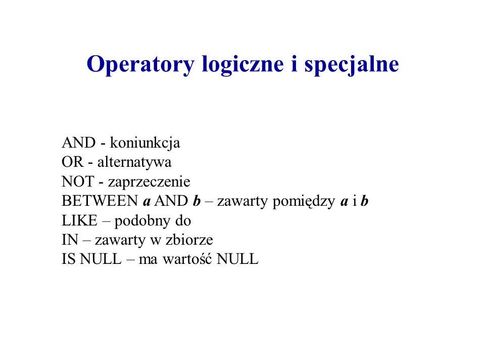 Operatory logiczne i specjalne AND - koniunkcja OR - alternatywa NOT - zaprzeczenie BETWEEN a AND b – zawarty pomiędzy a i b LIKE – podobny do IN – za