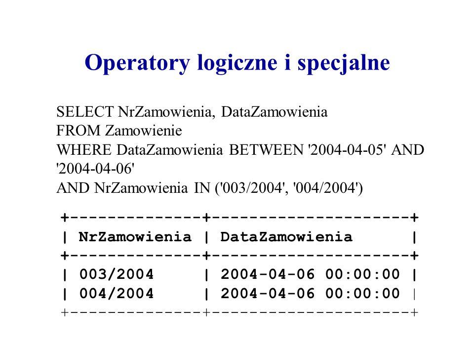 Operatory logiczne i specjalne SELECT NrZamowienia, DataZamowienia FROM Zamowienie WHERE DataZamowienia BETWEEN '2004-04-05' AND '2004-04-06' AND NrZa