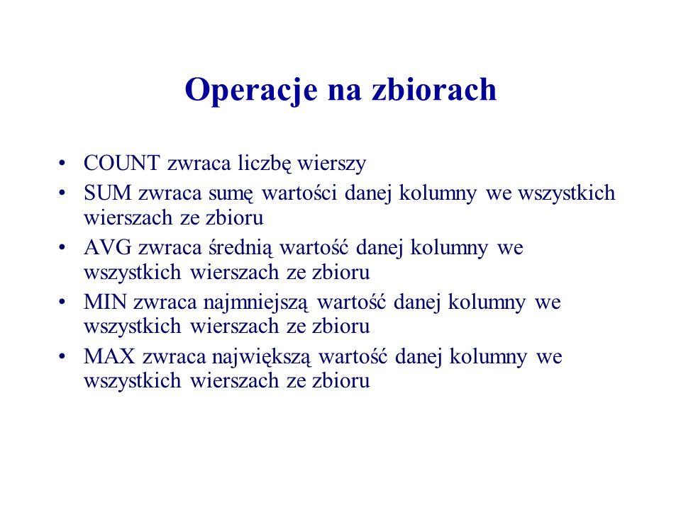 Operacje na zbiorach COUNT zwraca liczbę wierszy SUM zwraca sumę wartości danej kolumny we wszystkich wierszach ze zbioru AVG zwraca średnią wartość d