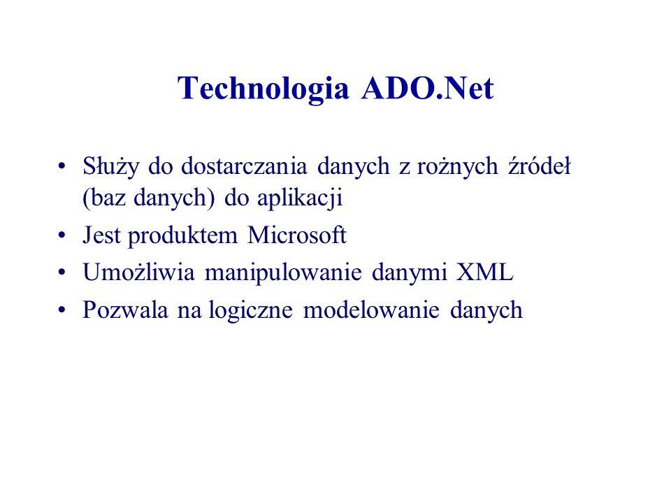 Technologia ADO.Net Służy do dostarczania danych z rożnych źródeł (baz danych) do aplikacji Jest produktem Microsoft Umożliwia manipulowanie danymi XM