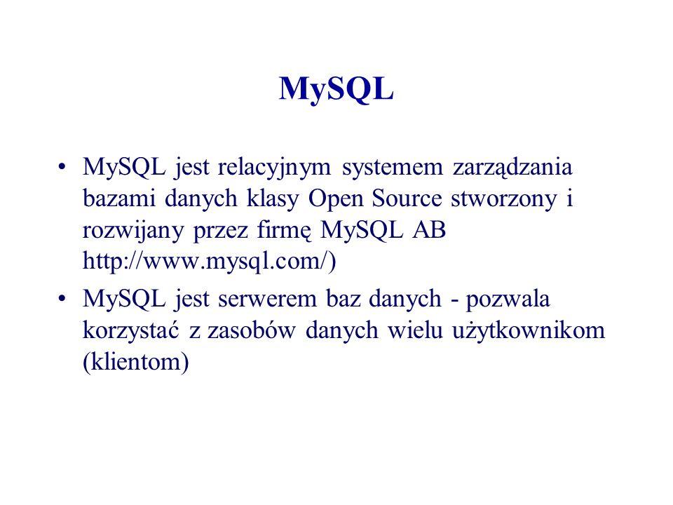 MySQL MySQL jest relacyjnym systemem zarządzania bazami danych klasy Open Source stworzony i rozwijany przez firmę MySQL AB http://www.mysql.com/) MyS