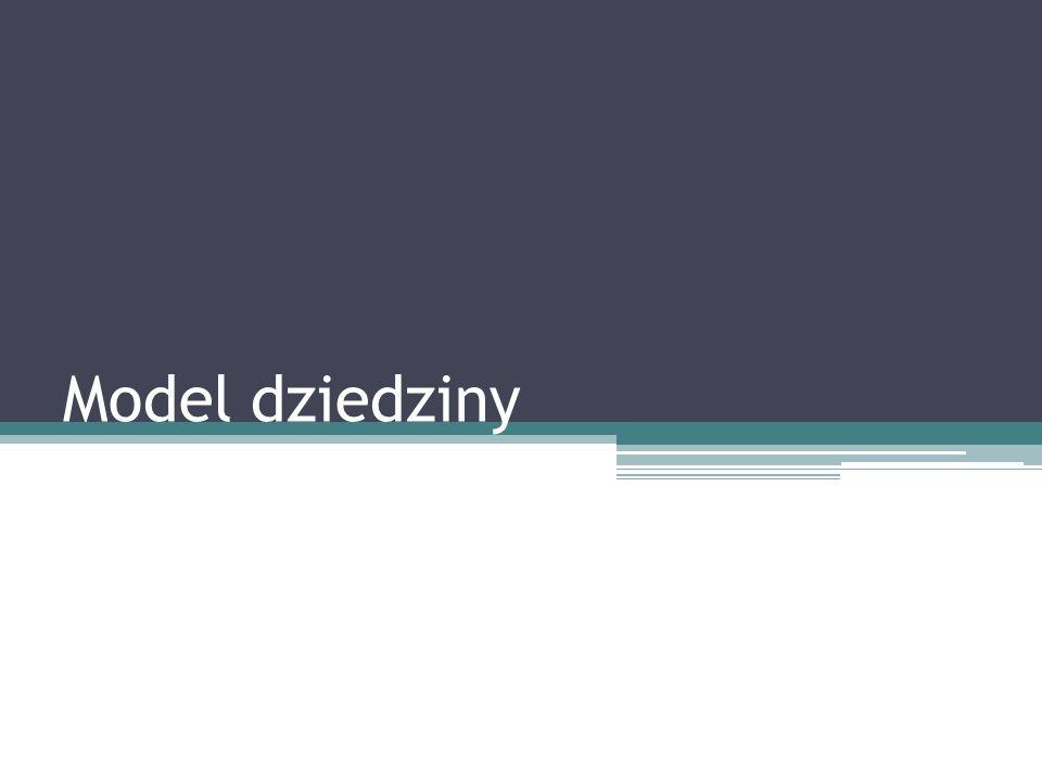 Tworzenie modelu dziedziny – uwagi (2) Z listy potencjalnych klas konceptualnych należy wykreślić te, które w rozpatrywanym kontekście oznaczają to samo oraz te, które wydają się zbyt abstrakcyjne Dane pojęcie z dziedziny problemu jest kandydatem na atrybut, jeśli potrafimy przydzielić mu jakiś prosty typ danych, np.