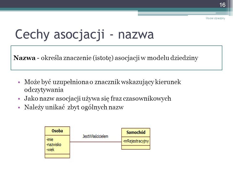Cechy asocjacji - nazwa Może być uzupełniona o znacznik wskazujący kierunek odczytywania Jako nazw asocjacji używa się fraz czasownikowych Należy unik